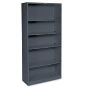 Metal Bookcase, Five-Shelf, 34-1/2w x 12-5/8d x 71h, Charcoal