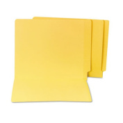 S J Paper Water/Paper Cut-Resistant Folders, Straight Tab, Letter, Yellow, 100/Box