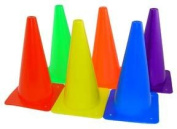 Indoor/Outdoor Flexible Cone Set, Vinyl, Assorted Colors, 6/Set
