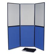 ShowIt Six-Panel Display System, Fabric, Blue/Gray, Black PVC Frame