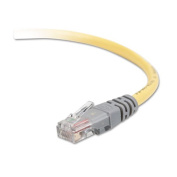 CAT5e Molded Crossover Patch Cable, RJ45 Connectors, 50 ft., Yellow