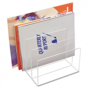 Clear Acrylic Desk File, Three Sections, 8 x 6 1/2 x 7 1/2, Clear