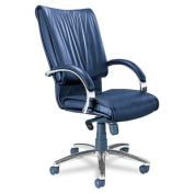 Mercado Series President Chair with Chrome Base, Black Leather