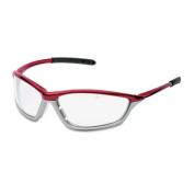 Shock Wraparound Safety Glasses, Crimson Polycarbonate Frame, Clear Lens