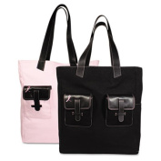 Pink Ribbon Canvas Tote, Reversible, 13 x 15 x 6, Black/Pink