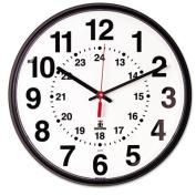 "Quartz 12-24 Hour Wall Clock, 12-3/4"", Black, 1 AA Battery"