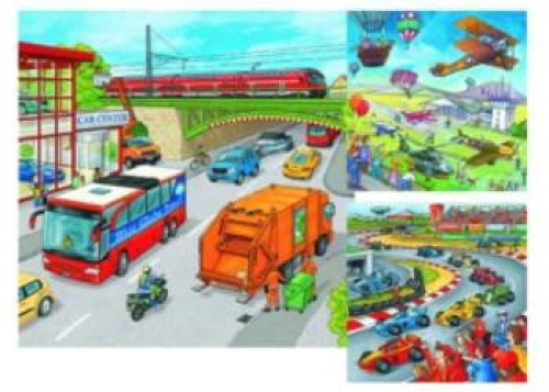 Moving Vehicles Puzzle - 3x49 pc. 3 x 49 Piece Puzzles. Free Shipping