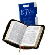 KJV Pocket Reference Edition KJ243:XRZ Black French Morocco Leather, with Zip Fastener