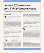 School Effectiveness and School Improvement