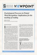 Psychological Processes in Printed Word Recognition