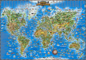 Children's Map of the World Educational Poster Laminated Poster 140cm x 100cm