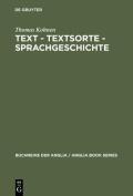 Text - Textsorte - Sprachgeschichte [GER]