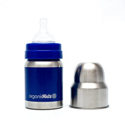 organicKidz Wide Mouth Stainless Steel 120ml Baby Bottles - Dark Blue Solid
