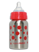 organicKidz Wide Mouthed Stainless Steel 270ml Baby Bottles - Red Dots