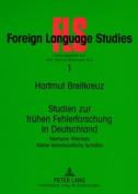 Studien Zur Fruehen Fehlerforschung in Deutschland [GER]