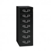 Seven-Drawer Multimedia Cabinet For 5 x 8 Cards, 19-1/8w x 52h, Black