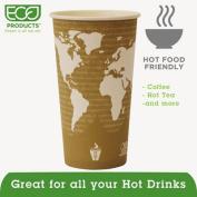 Eco-Products ECOEPBHC20WAPK World Art Hot Beverage Cups, PLA Lining, Leak Proof, Natural Plastic
