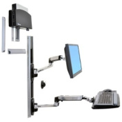 ERGOTRON LX WALL MOUNT SYSTEM WITH SMALL CPU HOLDER - POLISHED ALUMINUM ARMS BLACK CPU HO