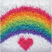 Shaggy Latch Hook Kit 30cm x 30cm  - Rainbow Heart