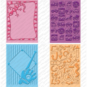 Provo Craft 2000615 Cuttlebug Cricut Companion Embossing Folders 4-Pkg-Boys Will Be Boys -2 5 in. x 7 in. and -2 A2