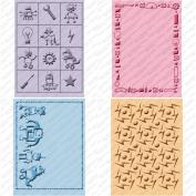 Cuttlebug Cricut Companion Embossing Folders 4/Pkg-Robotz (2) 13cm x 18cm & (2) A2