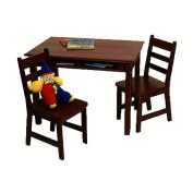 Lipper 534E Childs Rectangle Table with Shelves and 2 Chairs-Espresso