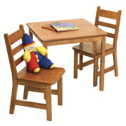 Lipper Child's Square Table & 2 Chairs Set - Pecan
