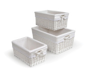 Badger Basket Three Basket  Set with Liners - White