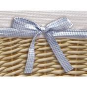 Badger Basket Natural Basket  with White Waffle Liner and 4 Ribbons