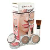 Start Now 4 Piece Essentials Collection - Golden Medium ( Pressed Powder + Mineral Glow + Marble Powder + Brush ), 4pcs