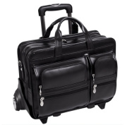 "McKlein 88445 17"" Clinton Black Leather Detachable-Wheeled Notebook Case"