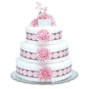 Bloomers Baby Nappy Cake-Modern Pink Mums with Pink & Chocolate Dots - Large 3-Tier