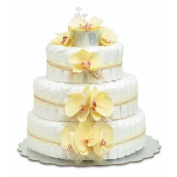 Bloomers Baby Nappy Cake-Hawaiian Yellow Orchids with Yellow Tulle & Raffia - Large 3-Tier