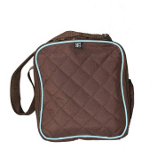 Bottles 'N Bottom Multi-Use Diaper Tote Bag - Cocoa with Blue Trim