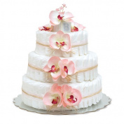Bloomers Baby Nappy Cake-Hawaiian Pink Orchids with Pink Tulle & Raffia - Large 3-Tier