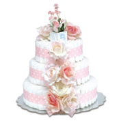 Bloomers Baby Nappy Cake-Classic Pink Roses with Polka Dots - Large 3-Tier