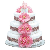 Bloomers Baby Nappy Cake-Safari Hot Pink Daisies with Leopard Print - Large 3-Tier