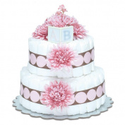 Bloomers Baby Nappy Cake-Modern Pink Mums with Pink & Chocolate Dots - Small 2-Tier