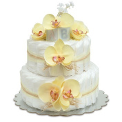 Bloomers Baby Nappy Cake-Hawaiian Yellow Orchids with Yellow Tulle & Raffia - Small 2-Tier
