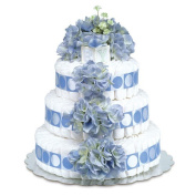 Bloomers Baby Nappy Cake-Classic Blue Hydrangeas with Blue Circles - Large 3-Tier