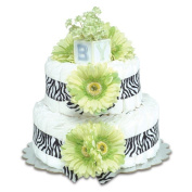 Bloomers Baby Nappy Cake-Safari Lime Green Daisies with Zebra Print - Small 2-Tier