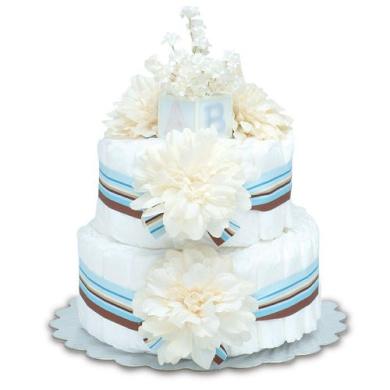 Bloomers Baby Nappy Cake-Modern Cream Dahlias with Aqua & Chocolate Stripes - Small 2-Tier