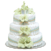 Bloomers Baby Nappy Cake-Hawaiian Mint Green Gladiolas with Mint Tulle & Raffia - Small 2-Tier
