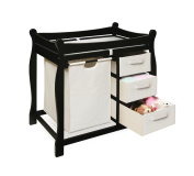 Badger Basket Company Sleigh Style Changing Table with Hamper/3 Baskets