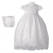 Girls Organza Christening Gown with Pearl Trim and Hat