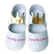 Silly Souls SH-DQ-2 Dancing Queen Shoe- 12-18 Months- White Pearlized Slipper