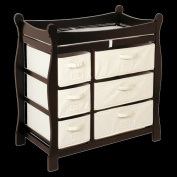 Badger Basket 02414 Espresso Sleigh Style Changing Table With Six Baskets