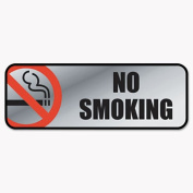 COSCO 098207 Brush Metal Office Sign, No Smoking, 9 x 3, Silver/Red