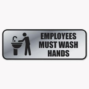 Cosco 098205 Brushed Metal Office Sign Employees Must Wash Hands 9 x 3 Silver
