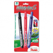 Pentel NXS15-A Handy-line S Retractable Permanent Markers Fine Tip Black Dozen